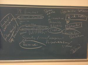 Qualities of a PR pro chalked onto a blackboard in Jake's PR strategies class at TCNJ.